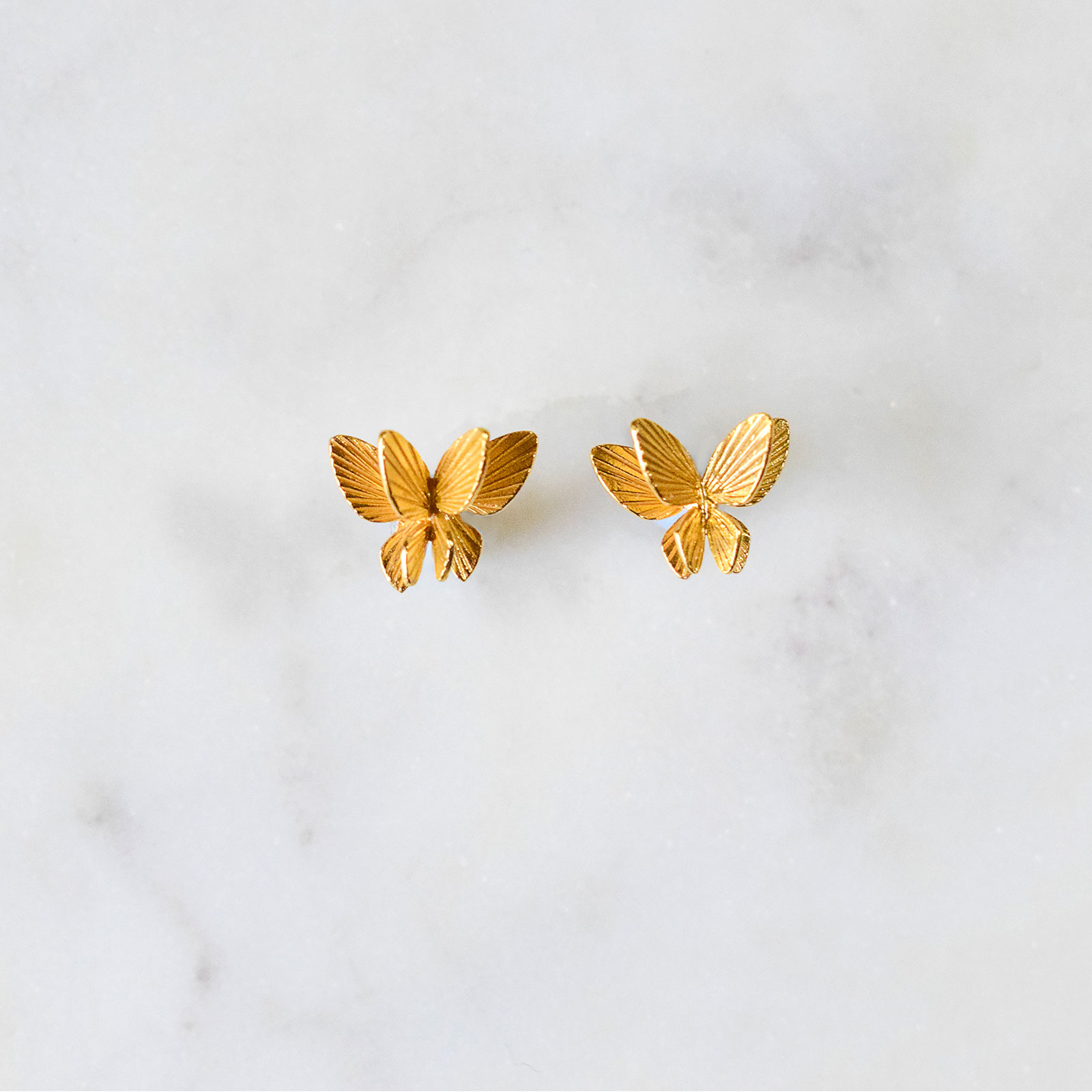 3082b199f Gold Butterfly Stud Earrings