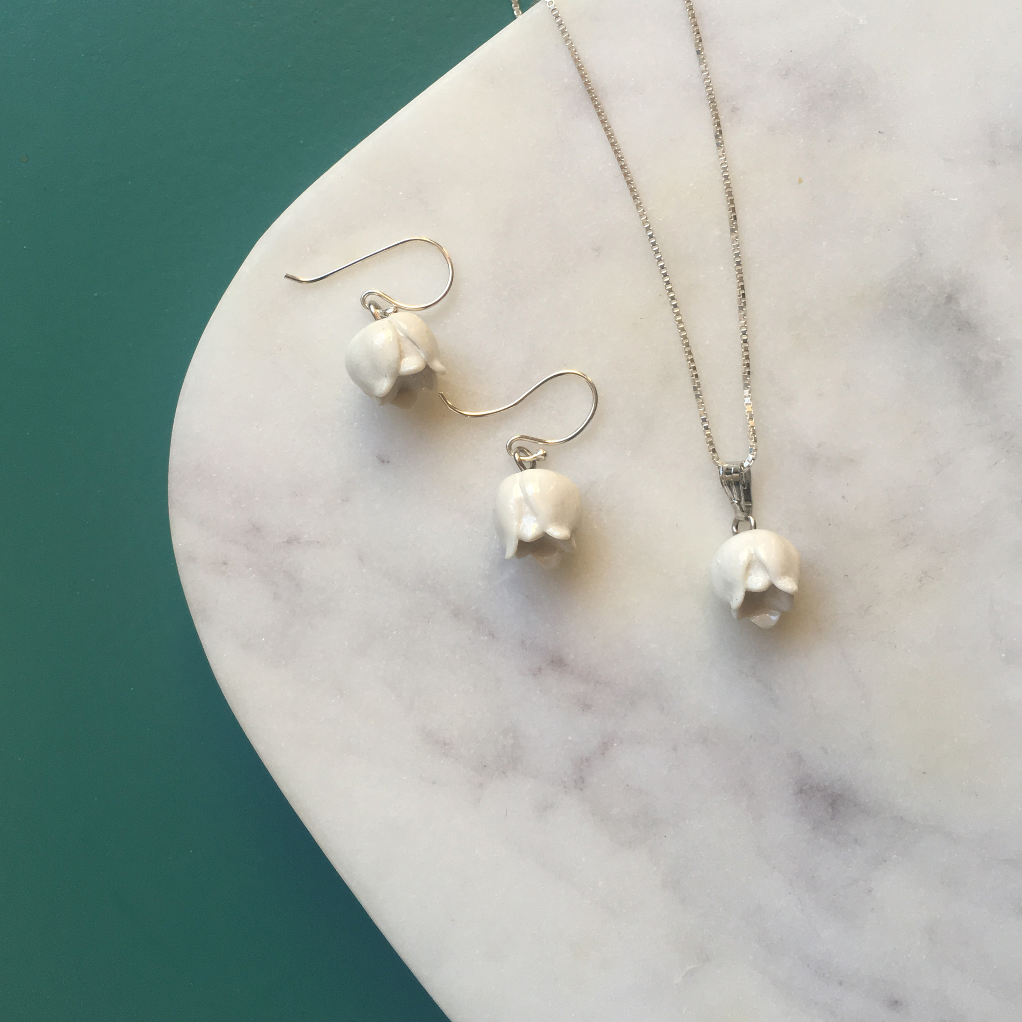 Lilly of the Valley necklace and earrings